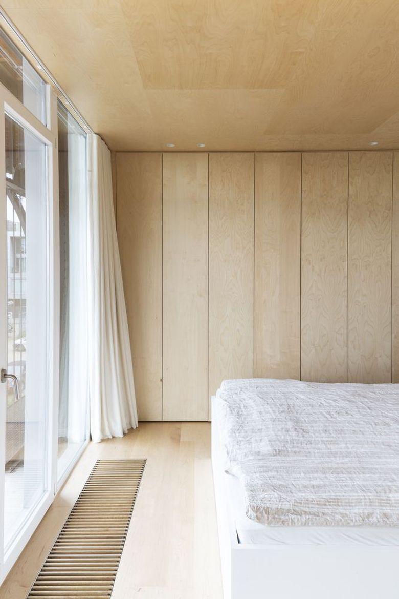 Фанера в интерьере апартаменты спальня