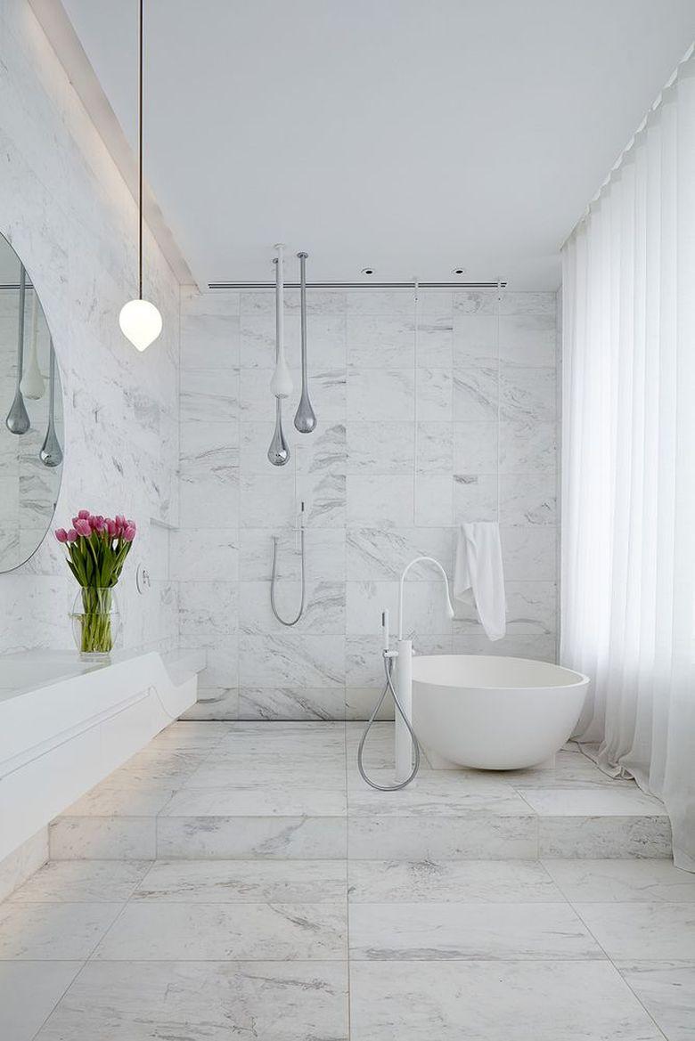 ванная мрамор душ без кабинки