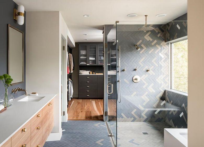 Интерьер ванной плитка елочкой