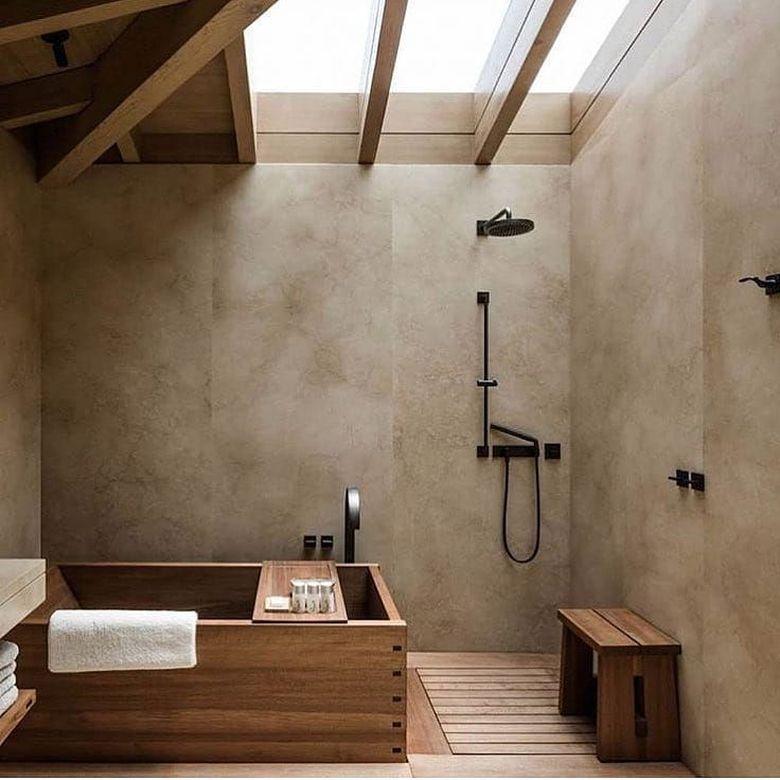 Скамейка в ванную в японском стиле
