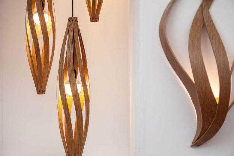 лампы из деревянных листьев