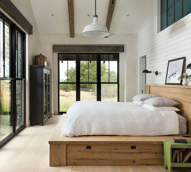 потолочные балки простота дополняет современный интерьер