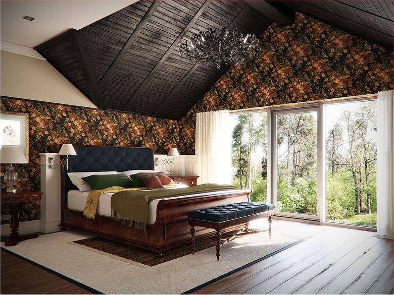 спальня с деревянным декором и кроватью-санями