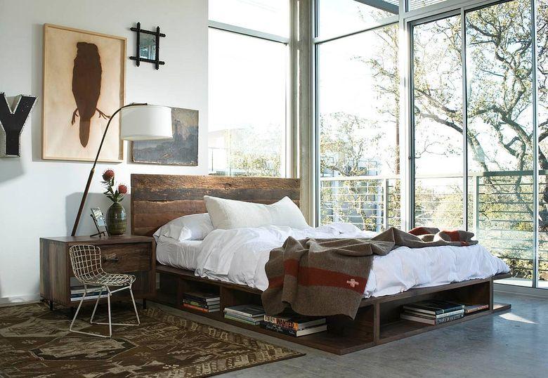 кровать-платформа с местом для хранения книг