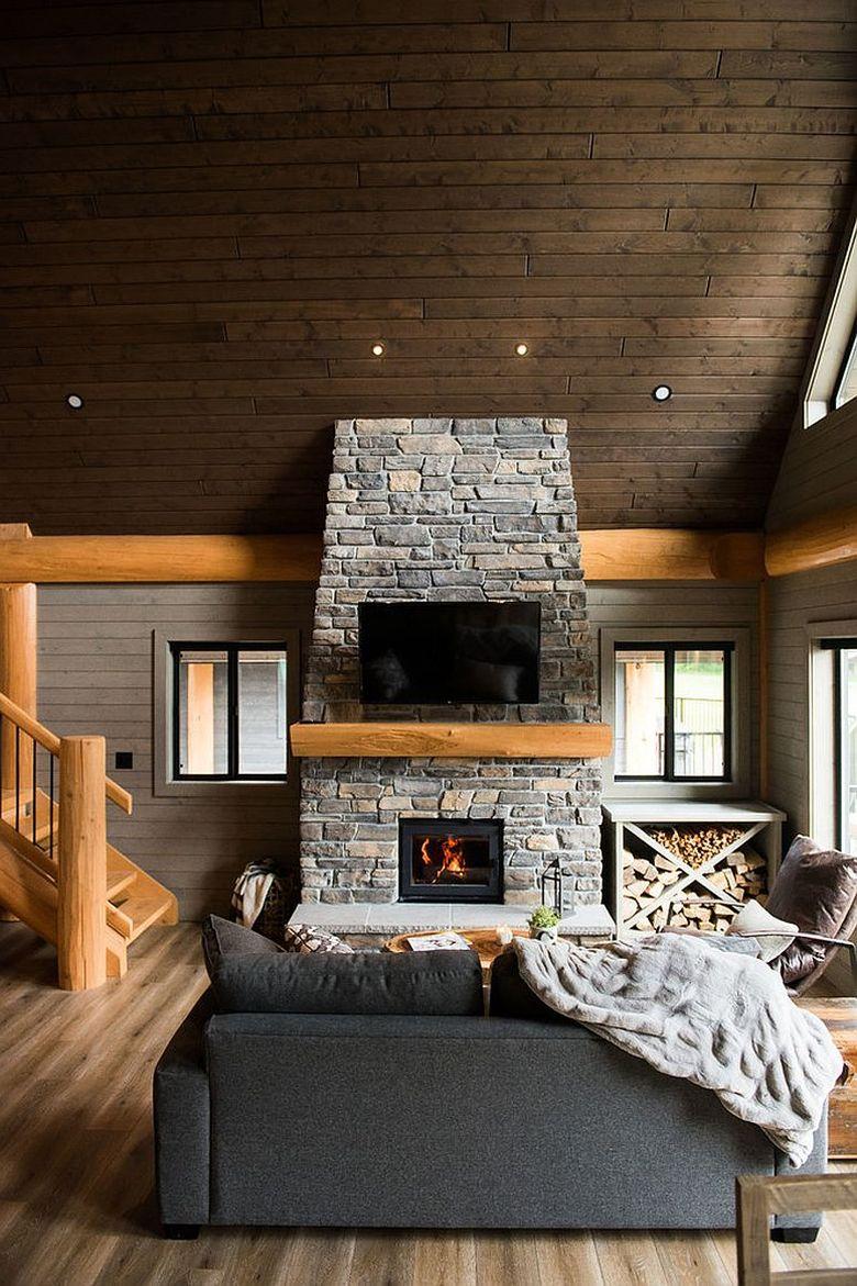 камень и дерево в просторной гостиной