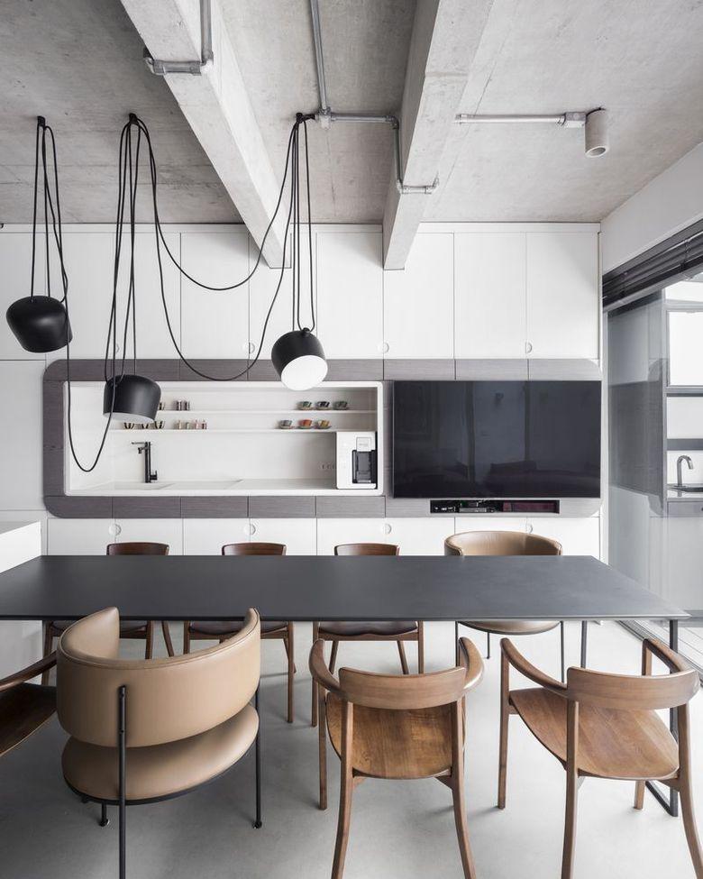 Кухня, гостиная и обеденная зона