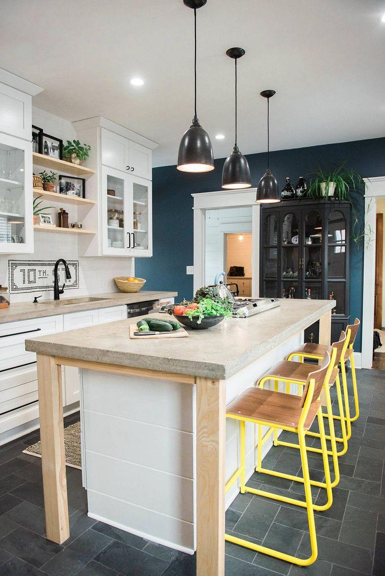 Тренды кухни 2020 бетонные столешницы