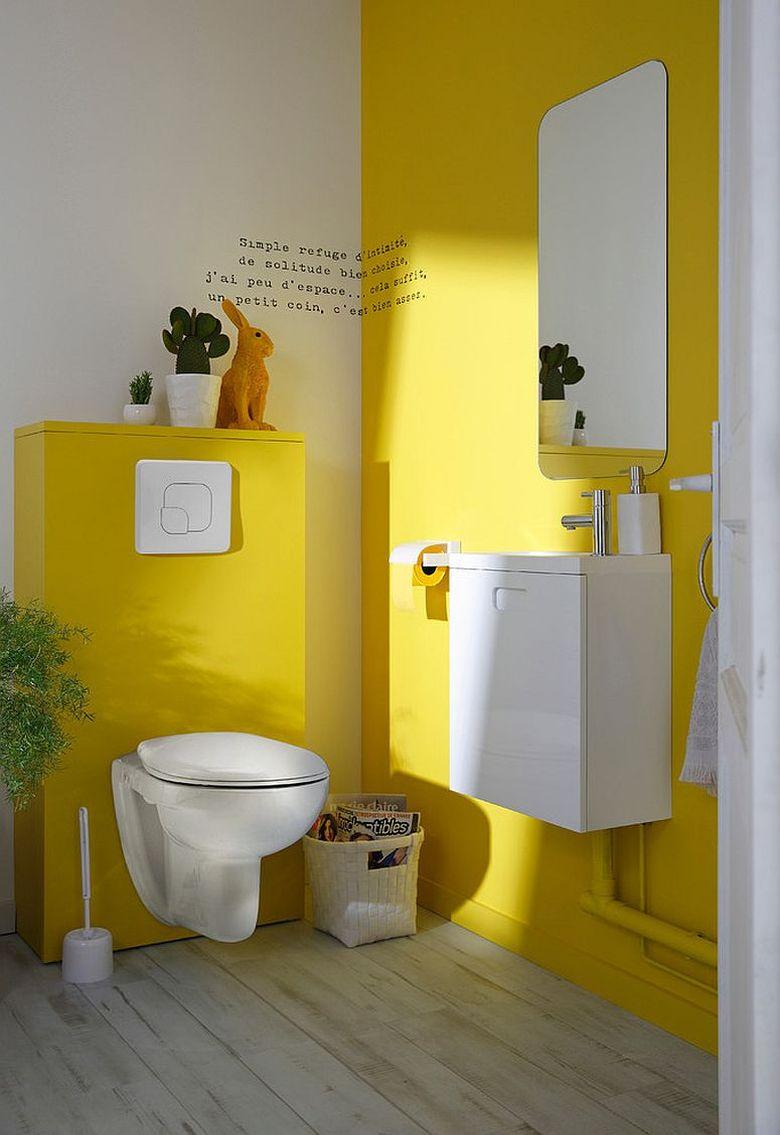 Использование желтого в туалетной комнате
