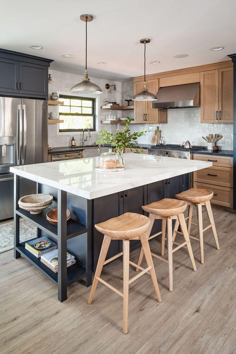 Тренды кухни 2020 открытые полки на кухонный остров