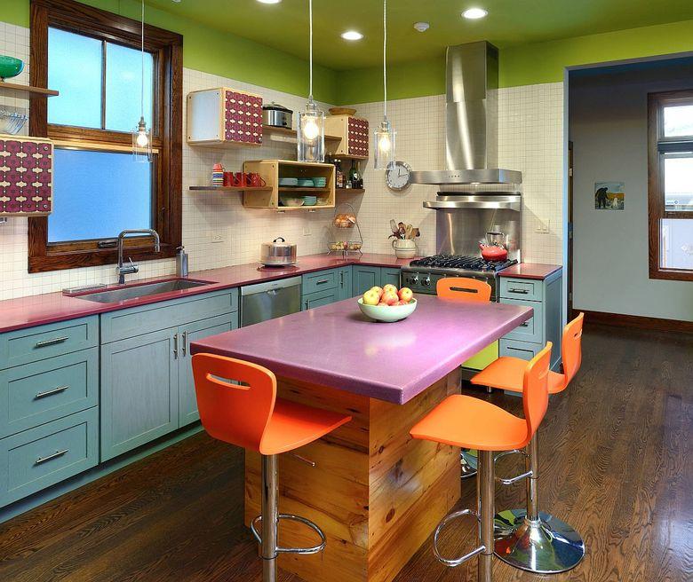 Тренды кухни 2020 яркие цвета