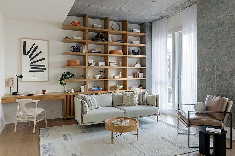 Стеллаж в гостиную бетонный потолок и стены