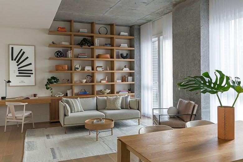 Стеллаж в гостиную диван белого цвета