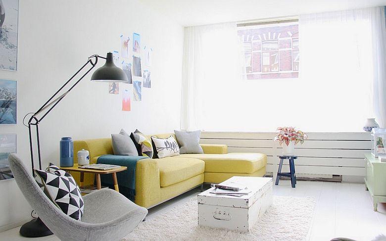 Cочетание желтого и серого ярко-желтый диван