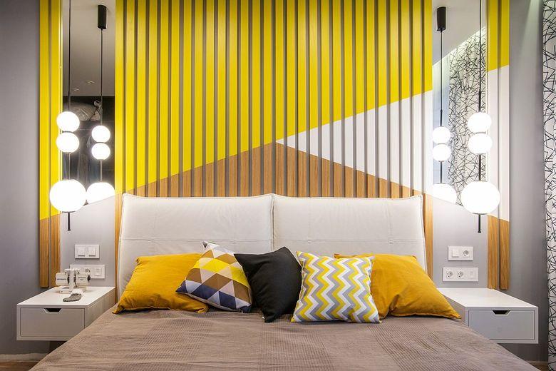 Цвета для спальни желтый и серый с белым