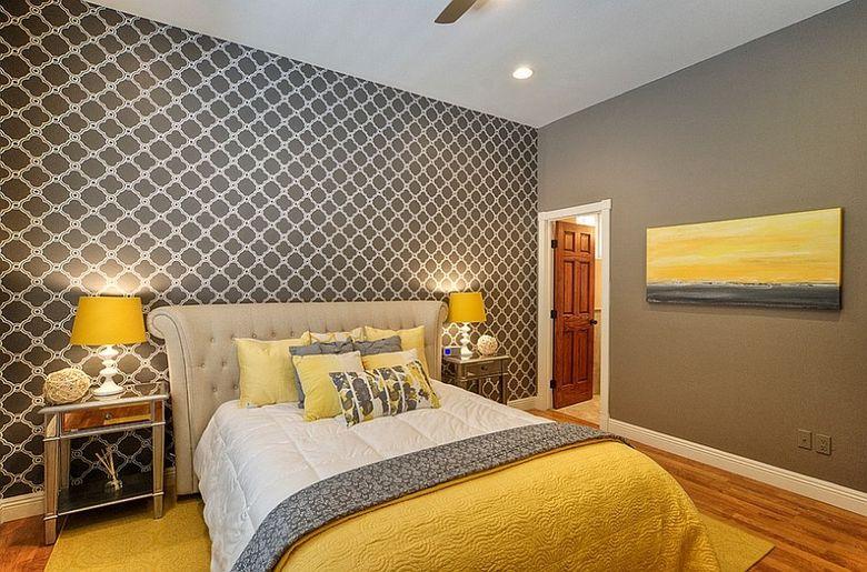 Cочетание желтого и серого в спальне