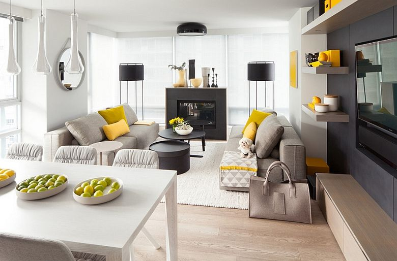 Cочетание желтого и серого в гостиной