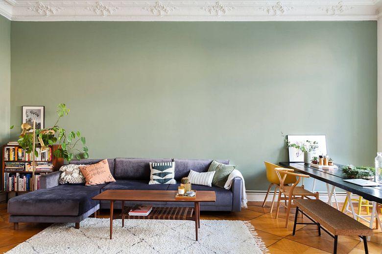 Идеи для гостиной мятно-зеленая акцентная стена