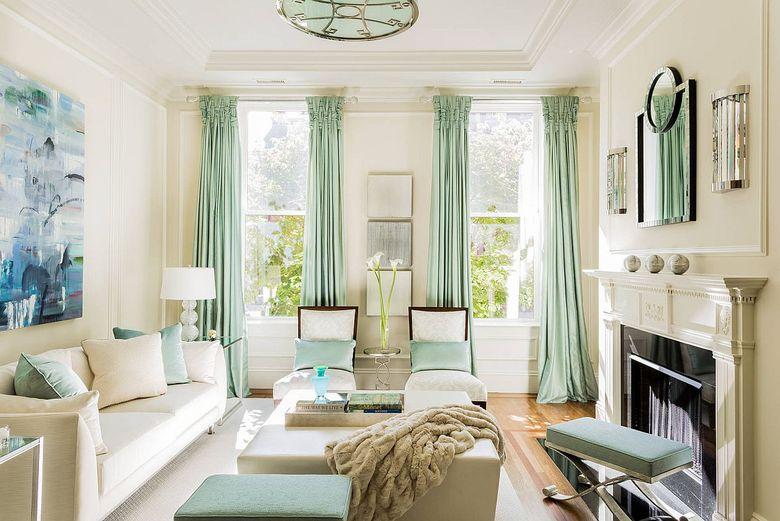 Идеи для гостиной пастельные шторы