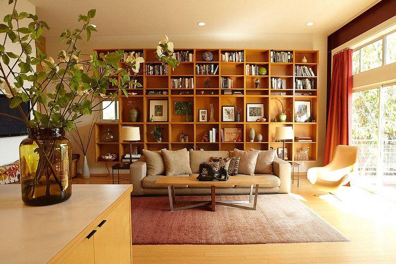Идеи для гостиной с книжной полкой