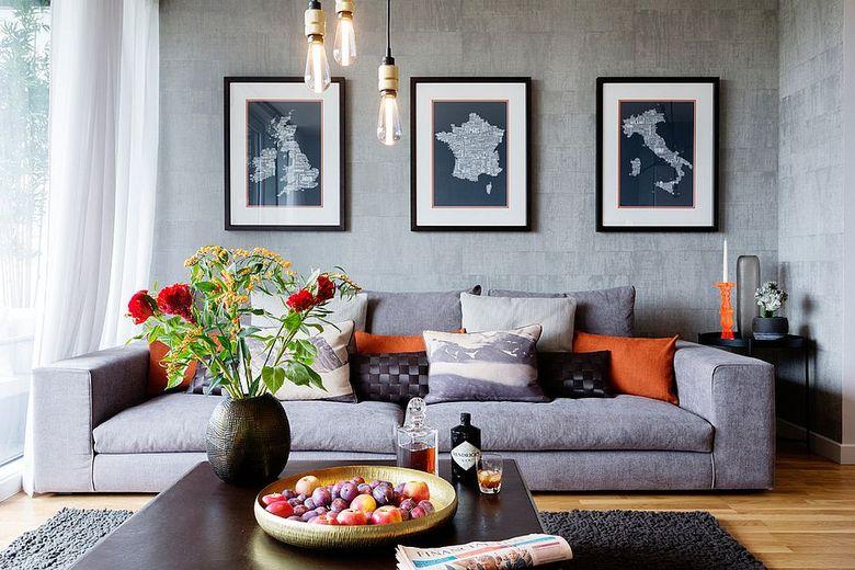 Идеи для гостиной серый освещенный лампами Эдисона