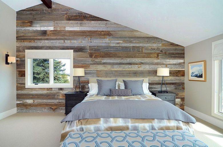 Акцентная стена в спальне современная