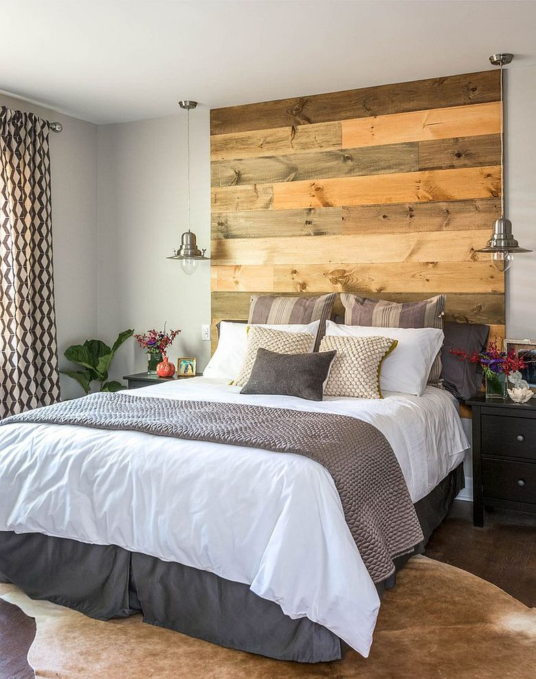 Акцентная стена в спальне элегантное изголовье