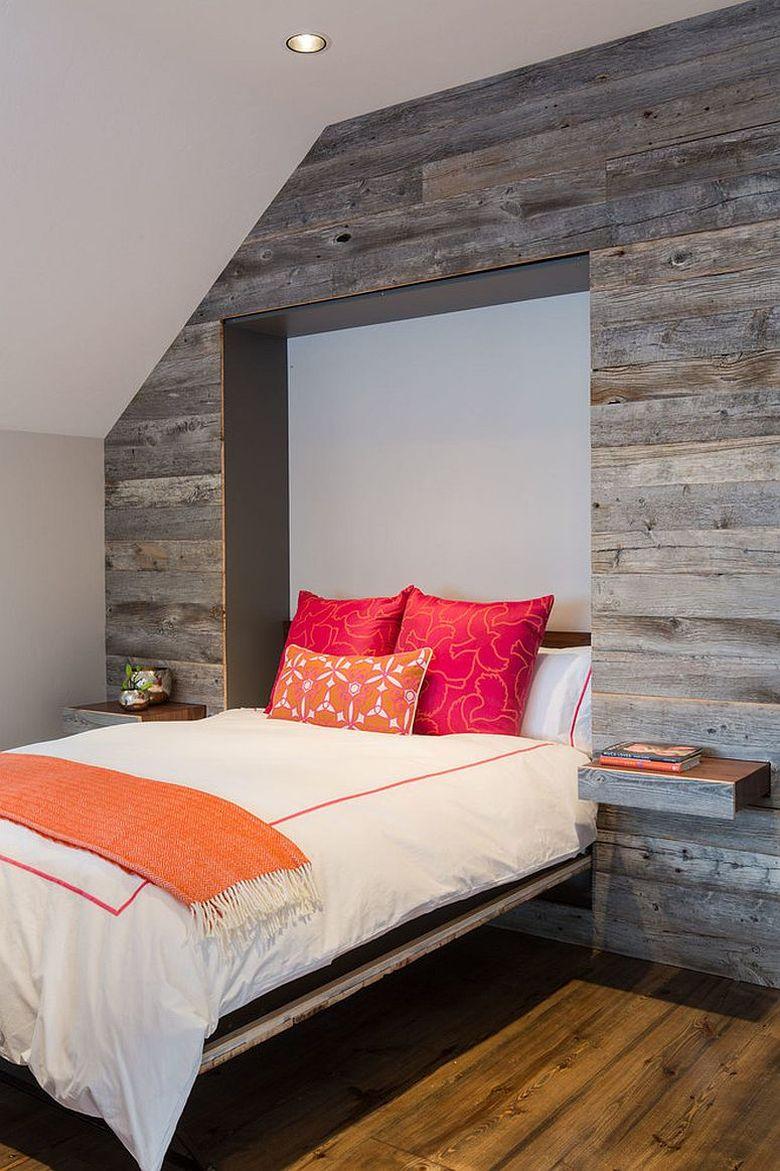Акцентная стена в спальне кровать Мерфи
