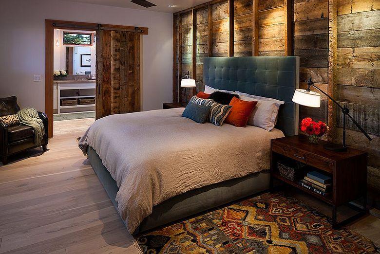 Акцентная стена в спальне стильно