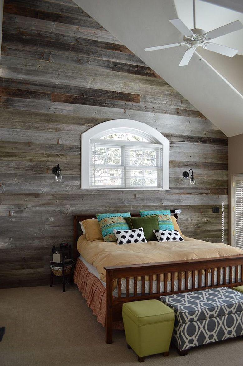 Акцентная стена в спальне амбарный шарм