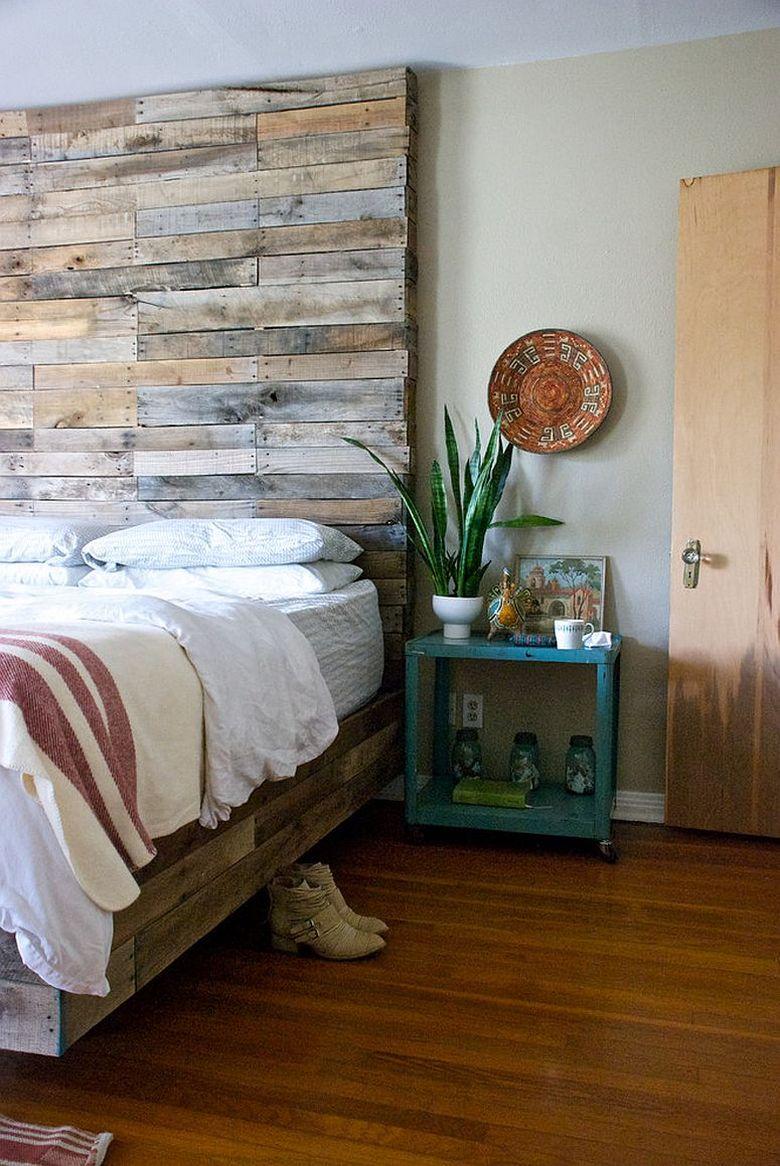 Акцентная стена в спальне творческий способ