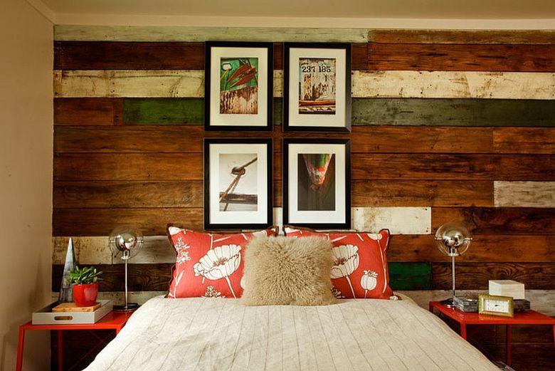 Акцентная стена в спальне в пляжном стиле