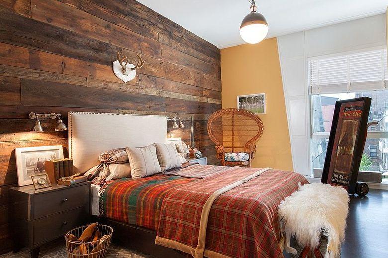 Акцентная стена в спальне в стиле рустик и шебби-шик