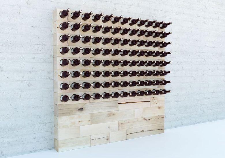Винный стеллаж из деревянных модулей
