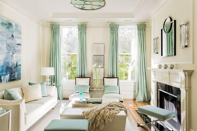 Тренды весны мятно-зеленые шторы