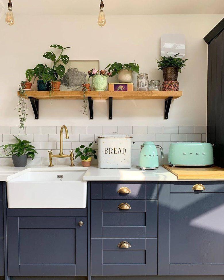 Кухня в стиле ретро живая зелень