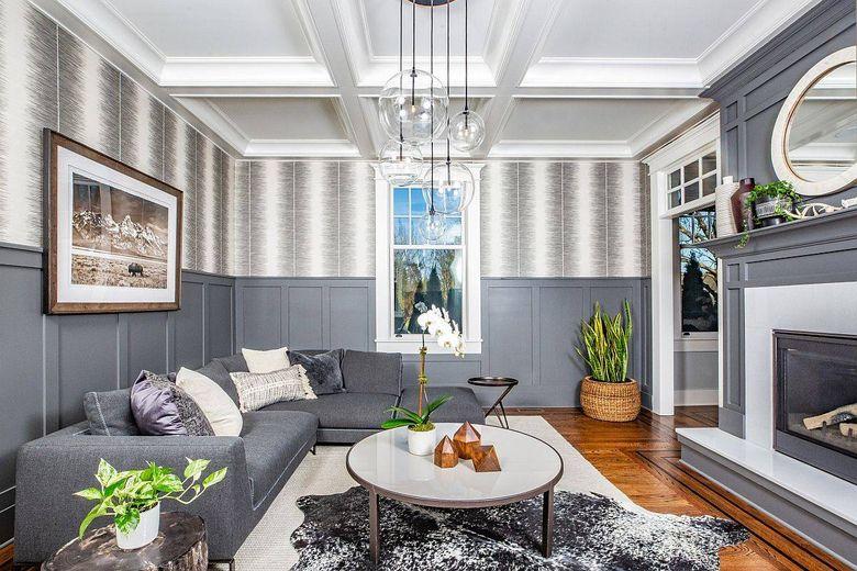 Цвет стен в гостиной баланс белого и серого