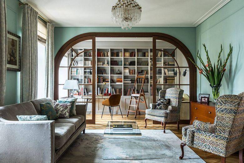Цвет стен в гостиной пастельно-зеленый