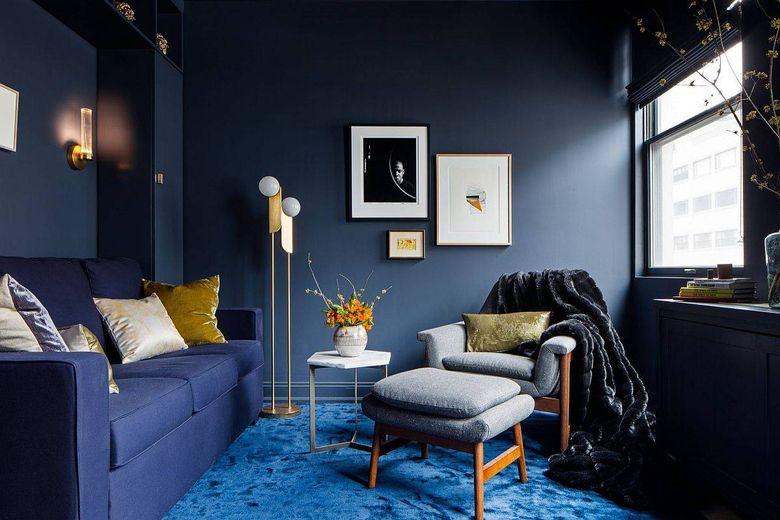 Цвет стен в гостиной темно-голубовато-серый