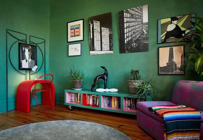 Цвет стен в гостиной темно-зеленый