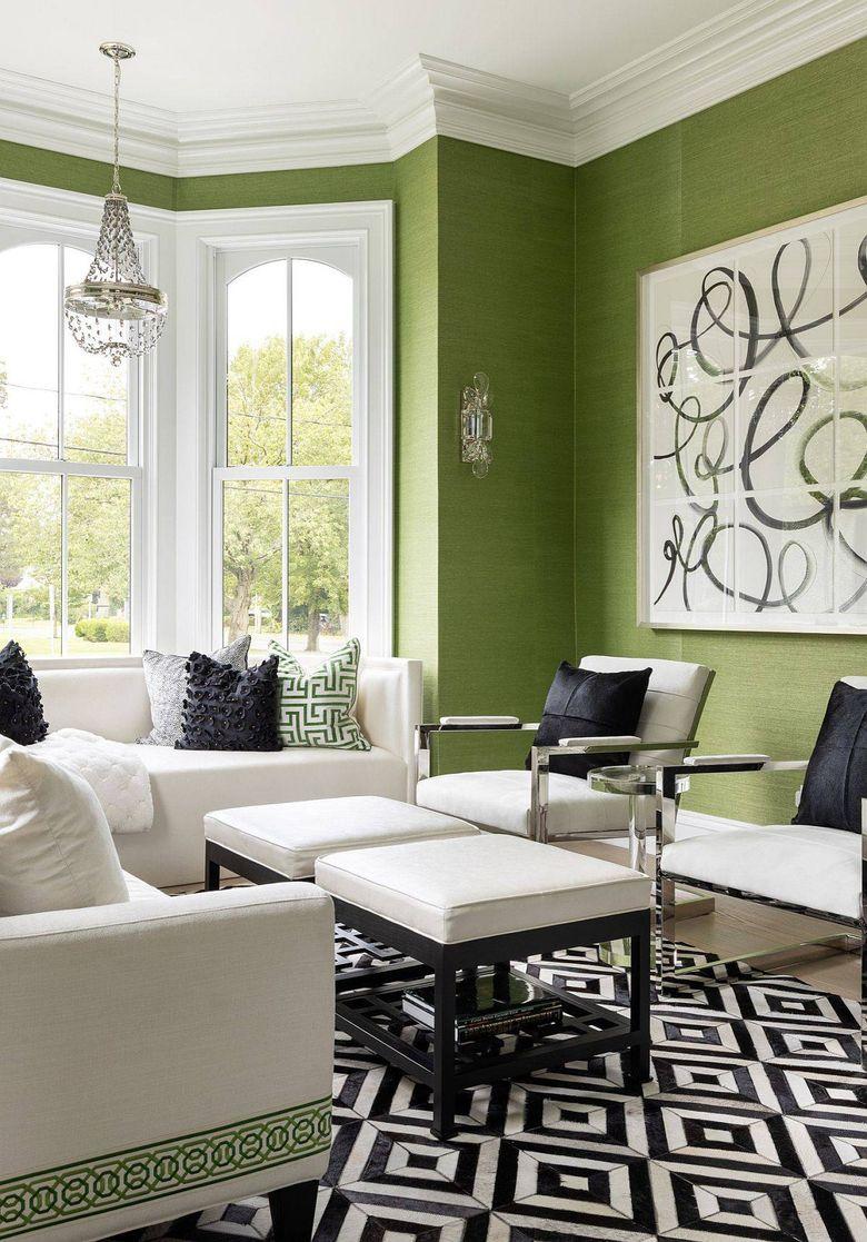 Цвет стен в гостиной травяной